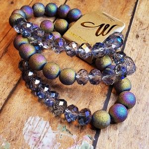 Jewelry - Semiprecious gemstone 3 stack multilayer bracelets